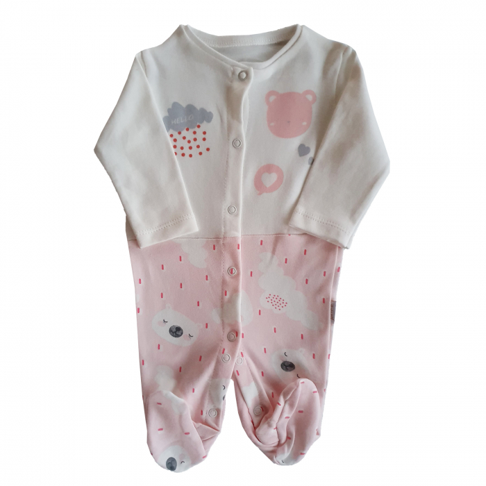 Salopeta bebe nori si ploaie roz bumbac 0