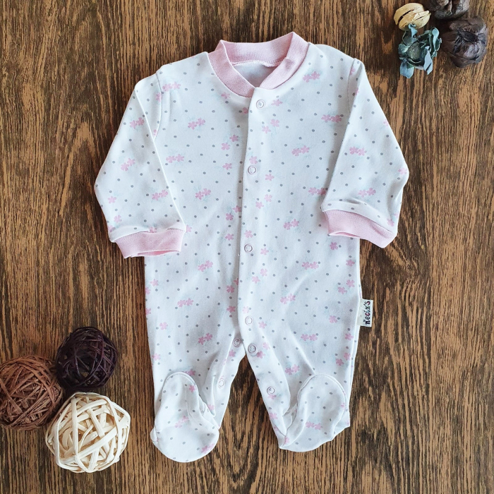 Salopeta nou nascut fetita roz flori bumbac 0