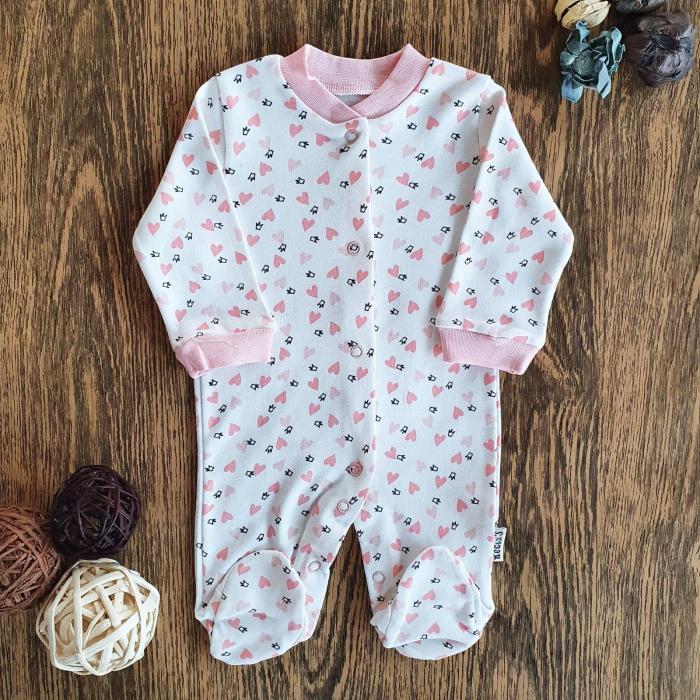 Salopeta nou nascut fetita inimioare roz bumbac 0