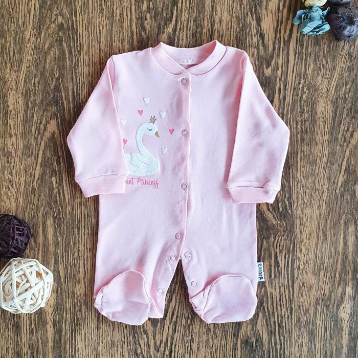 Salopeta nou nascut fetita roz lebada bumbac 0