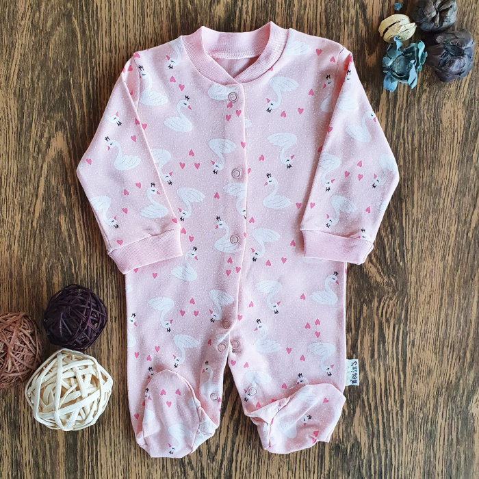 Salopeta nou nascut fetita roz lebede bumbac 0