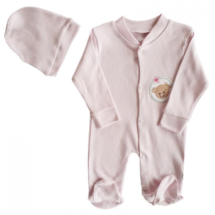 Salopeta cu caciulita bebe roz ursulet bumbac [0]