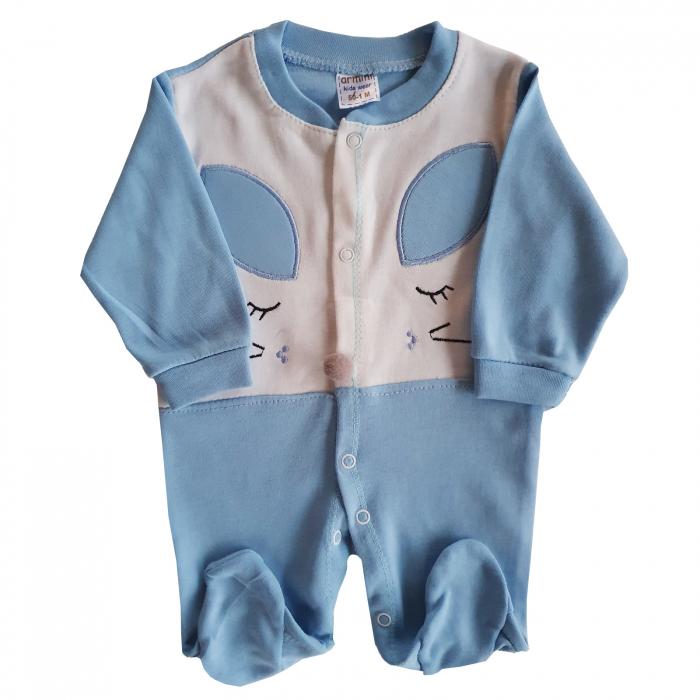 Salopeta bebe bleu soricel bumbac 0