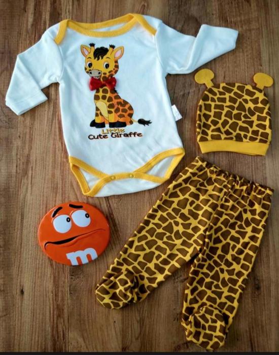 Set bebelusi body, pantaloni si caciulita girafa bumbac 0-6 luni [0]