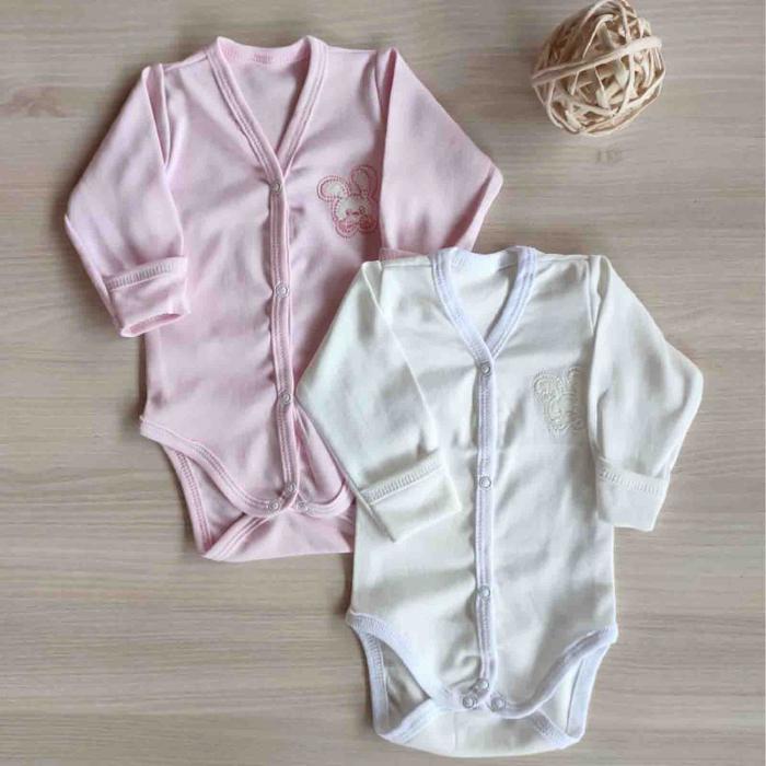 Set 2 body-uri nou nascuti iepuras roz si alb bumbac [0]