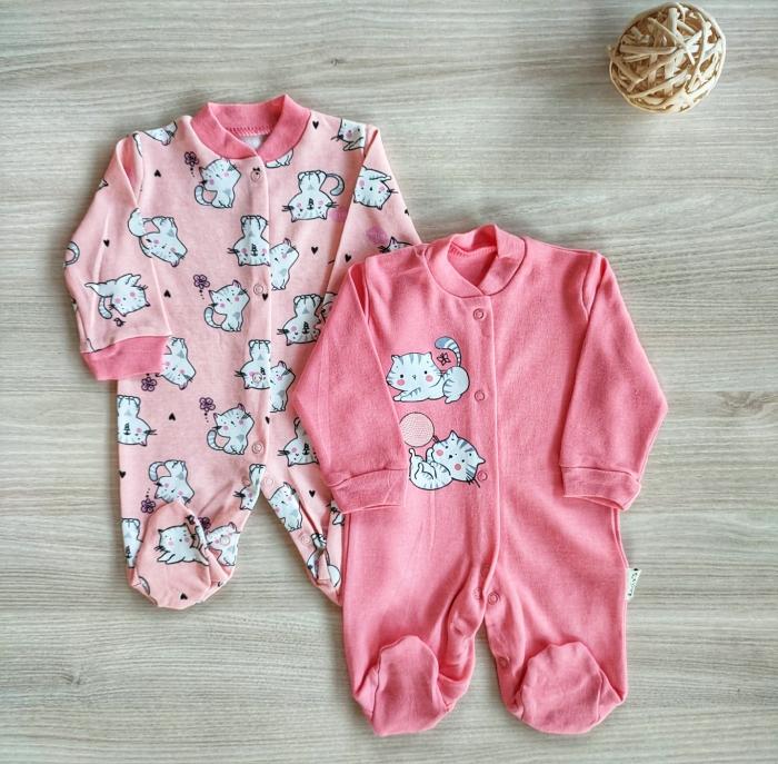 Set 2 salopete nou nascuti pisicute roz [0]