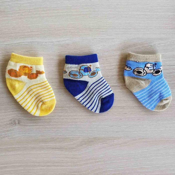Set 3 perechi de sosete bebelusi galbene, albastre si bleu 0-12 luni [0]