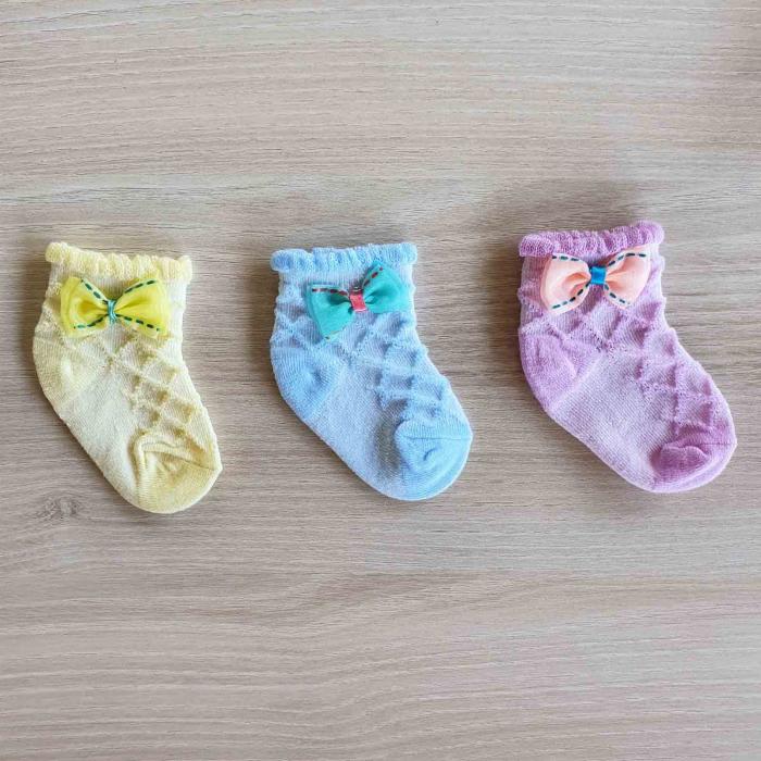 Set 3 perechi de sosete bebelusi galbene, turquaz si mov 0-12 luni [0]
