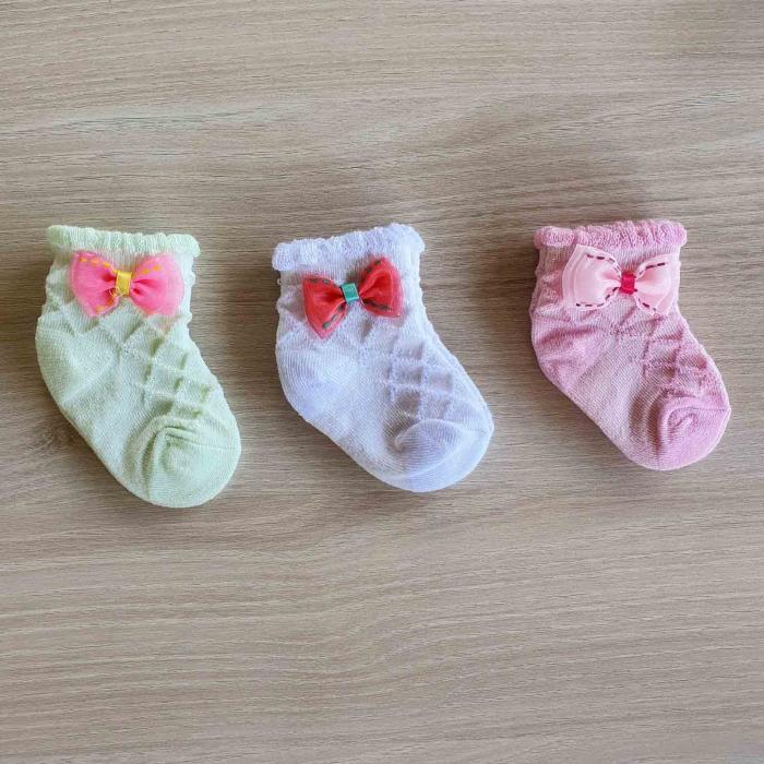 Set 3 perechi de sosete bebelusi verzi, abe si roz 0-12 luni [0]