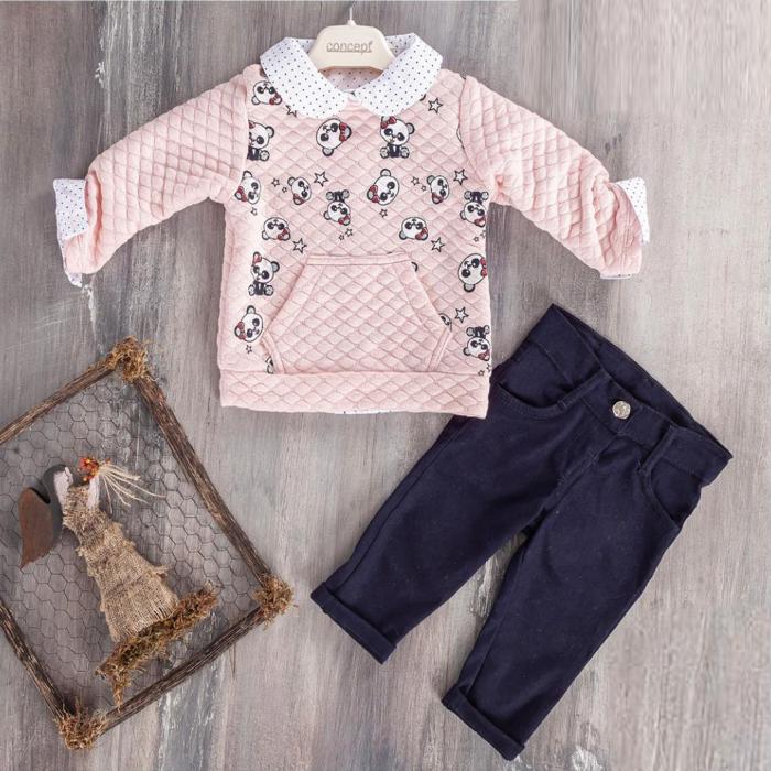 Set 3 piese, camasa, bluza si pantalon little panda 0