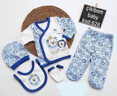 Set 5 piese nou nascuti leu albastru bumbac [0]