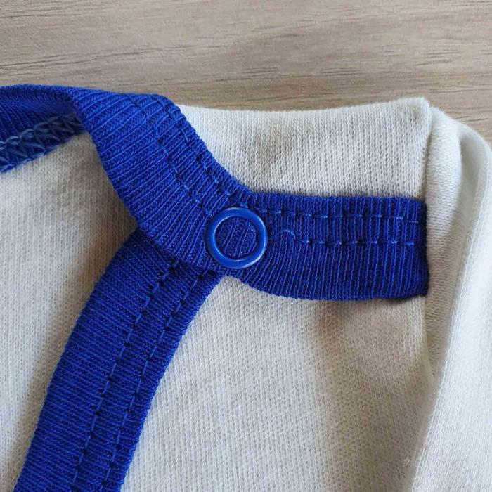 Set bebelusi body maneca lunga, pantaloni lungi si caciulita pinguin albastru bumbac 0-9 luni [1]