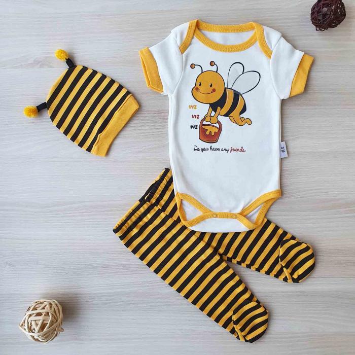 Set bebelusi body maneca scurta, pantaloni si caciulita albina bumbac 0-6 luni 0