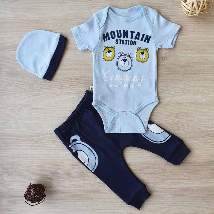 Set bebelusi body, pantaloni si caciulita 3 ursuleti abastru bumbac 0-9 luni 0