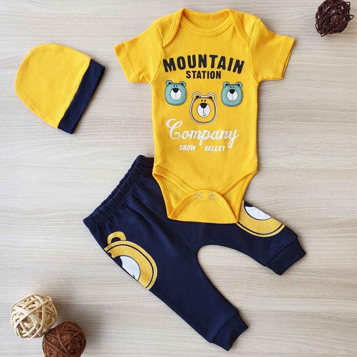 Set bebelusi body, pantaloni si caciulita 3 ursuleti galben bumbac 0-9 luni 0