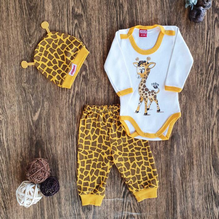 Set bebelusi body, pantaloni si caciulita girafa bumbac 0-9 luni 0