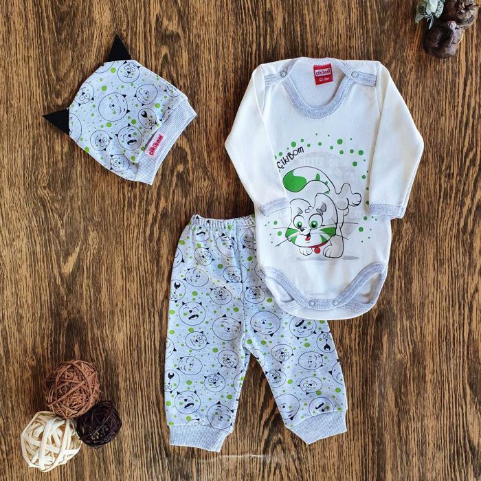 Set bebelusi body, pantaloni si caciulita pisicuta bumbac 0-9 luni [0]