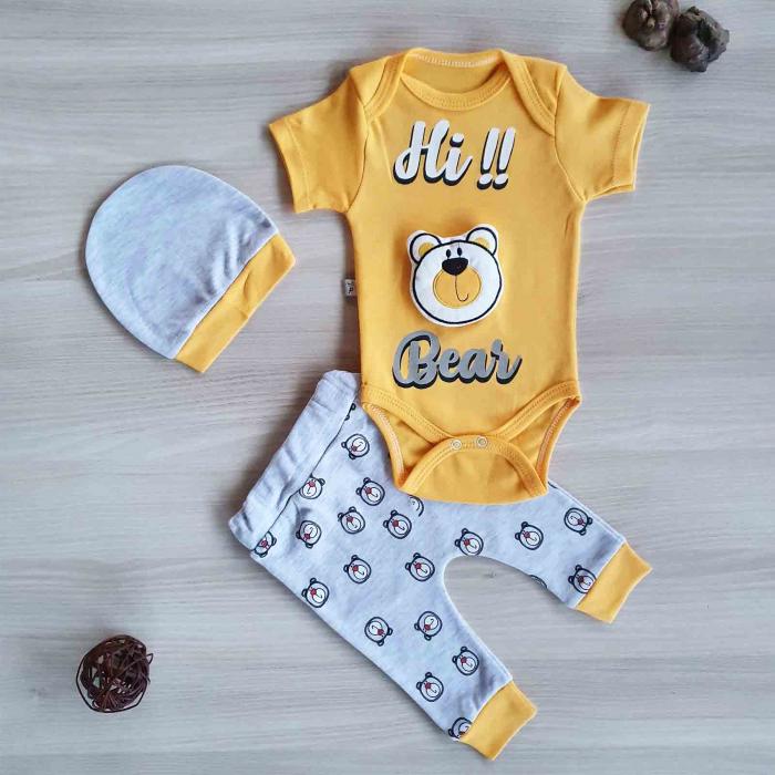 Set bebelusi body, pantaloni si caciulita ursulet 3D gaben bumbac 0-9 luni [0]