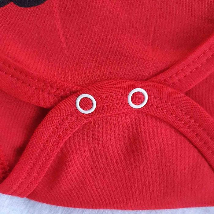 Set bebelusi body, pantaloni si caciulita ursulet 3D rosu bumbac 0-9 luni [2]