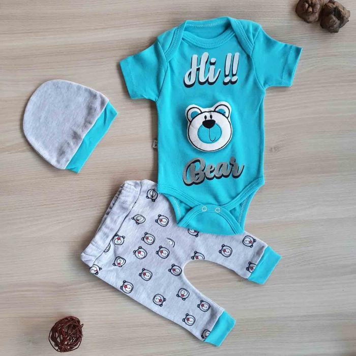 Set bebelusi body, pantaloni si caciulita ursulet 3D turquaz bumbac 0-9 luni [0]