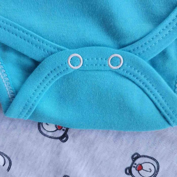 Set bebelusi body, pantaloni si caciulita ursulet 3D turquaz bumbac 0-9 luni [2]