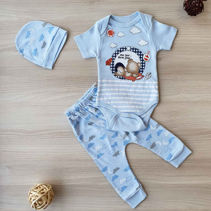 Set bebelusi body, pantaloni si caciulita ursulet bleu bumbac 0-9 luni 0