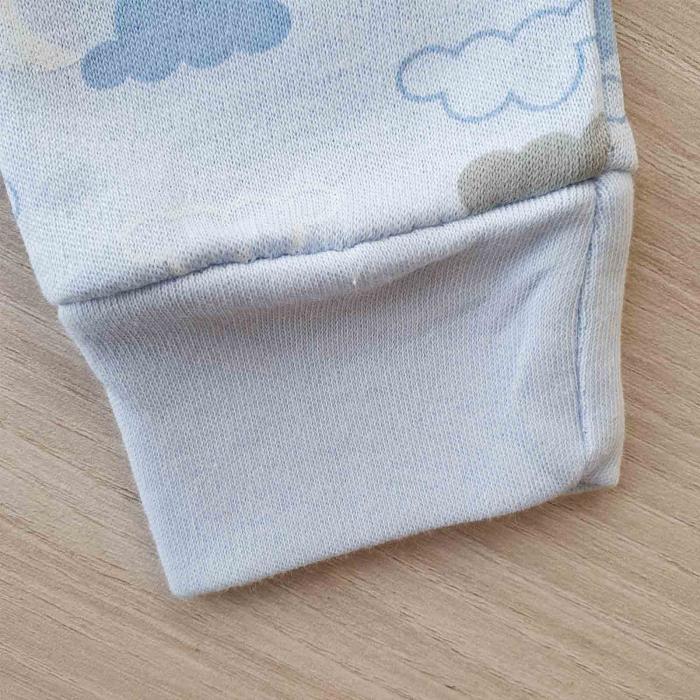Set bebelusi body, pantaloni si caciulita ursulet bleu bumbac 0-9 luni 2