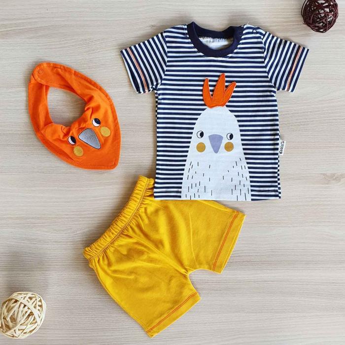 Set bebelusi tricou pantaloni scurti si babetica puisor galben bumbac 3-12 luni [0]