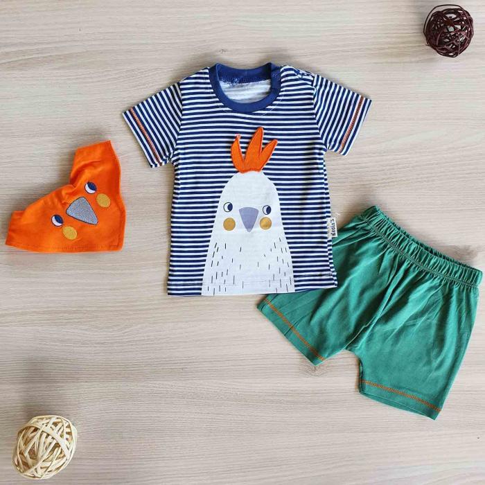Set bebelusi tricou pantaloni scurti si babetica puisor verde bumbac 3-12 luni [0]