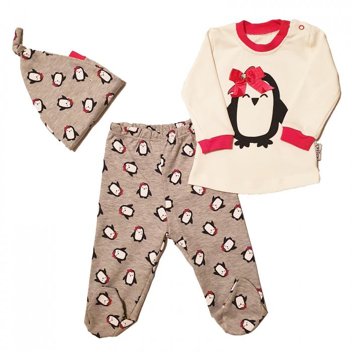 Set bluza, pantaloni si caciulita pinguini [0]
