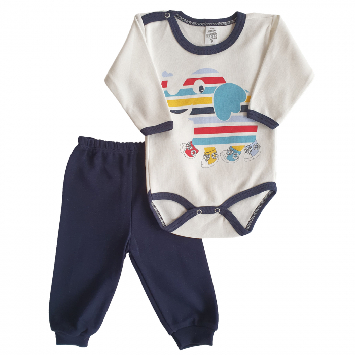 Set body, pantaloni elefantel in culori bumbac 0