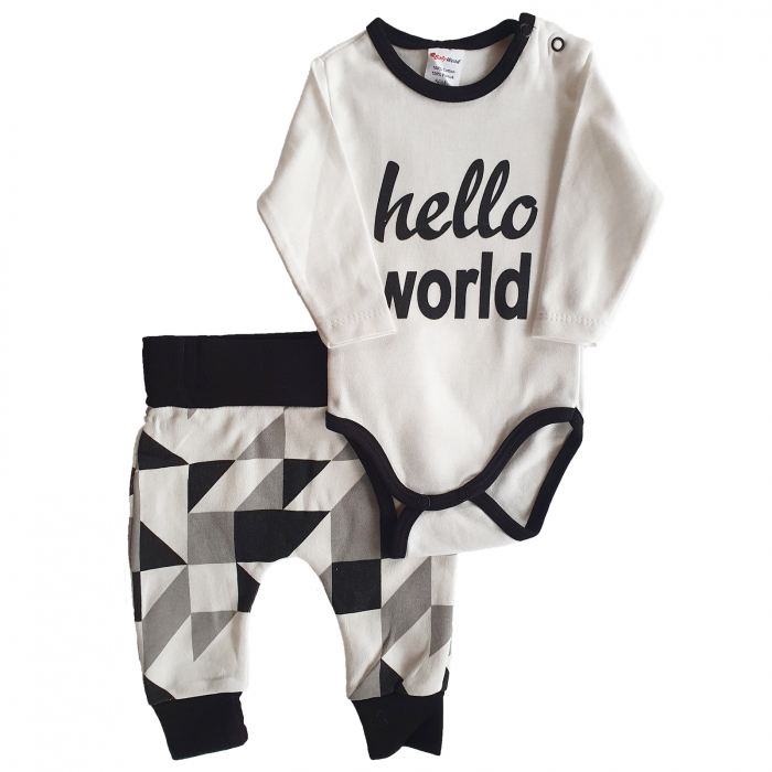 Set body, pantaloni Hello World bumbac 0