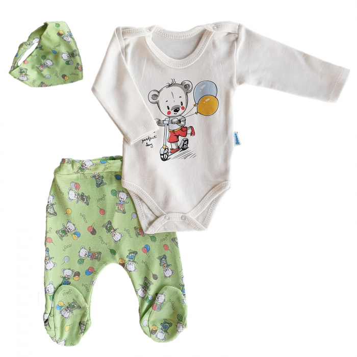 Set body, pantaloni verzi si babetica ursuleti pe trotineta bumbac 0-6 luni 0