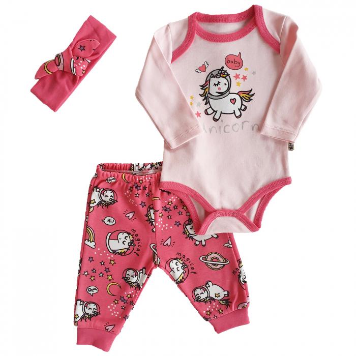 Set body, pantaloni si bentita roz unicorn bumbac 0-6 luni 0