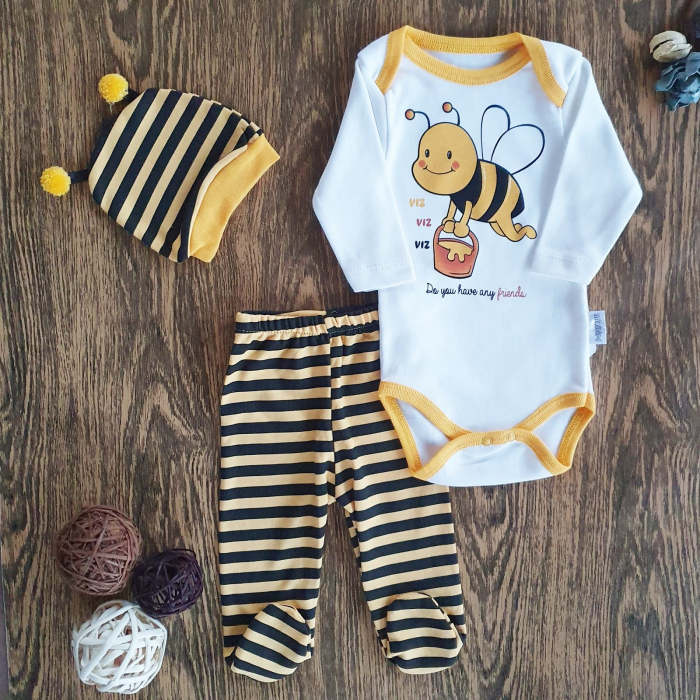Set body, pantaloni si caciulita albinuta bumbac 0-6 luni 0