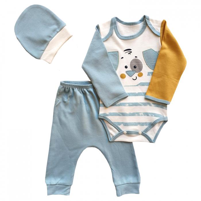 Set body, pantaloni si caciulita catelus bleu 0