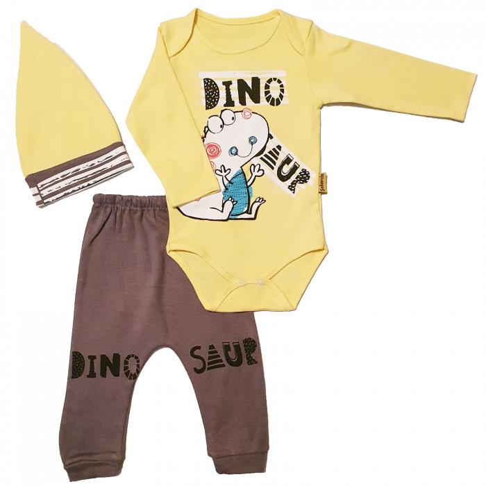 Set body, pantaloni si caciulita Dino 0