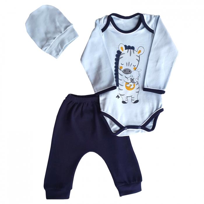 Set body, pantaloni si caciulita girafa bleu 0