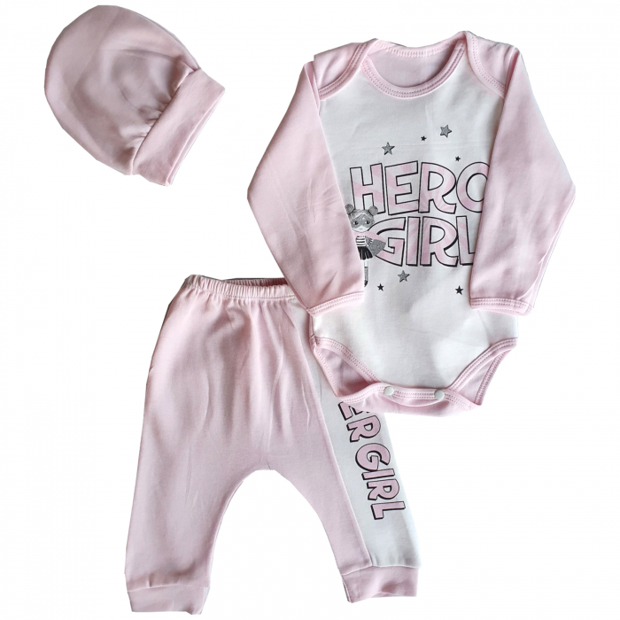 Set body, pantaloni si caciulita Hero Girl roz 0