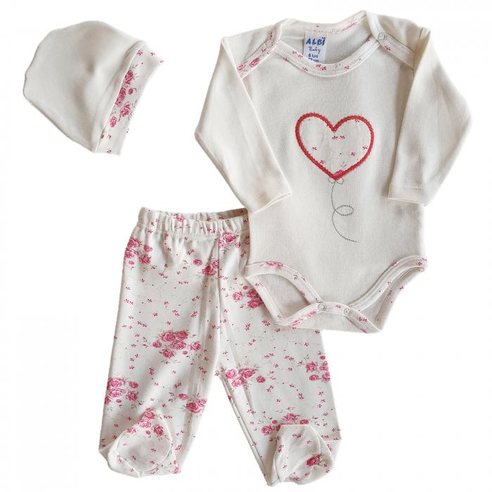 Set body, pantaloni si caciulita inimioara bumbac 3-6 luni 0