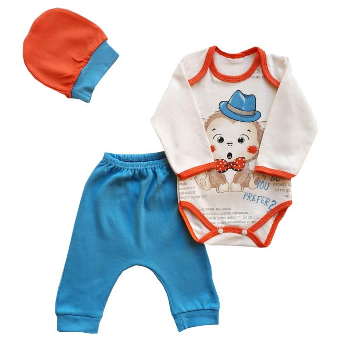 Set body, pantaloni si caciulita maimutica albastru 0