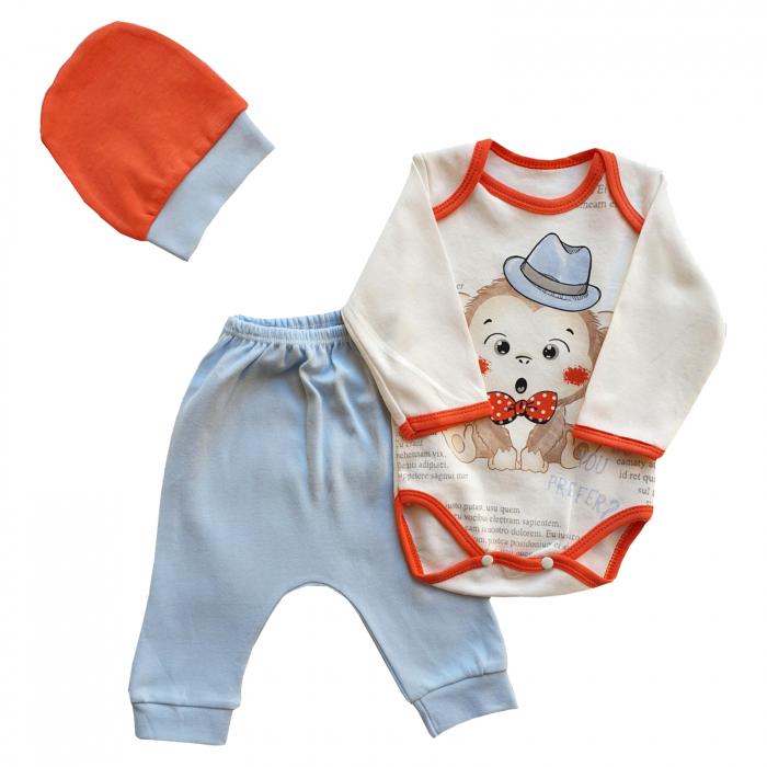 Set body, pantaloni si caciulita maimutica bleu 0