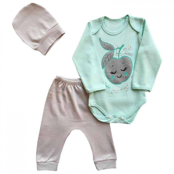 Set body, pantaloni si caciulita mar cu sclipici verde 0