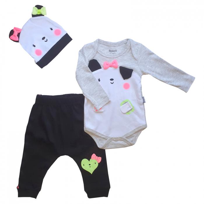 Set body, pantaloni si caciulita panda cu funda roz 3D 0