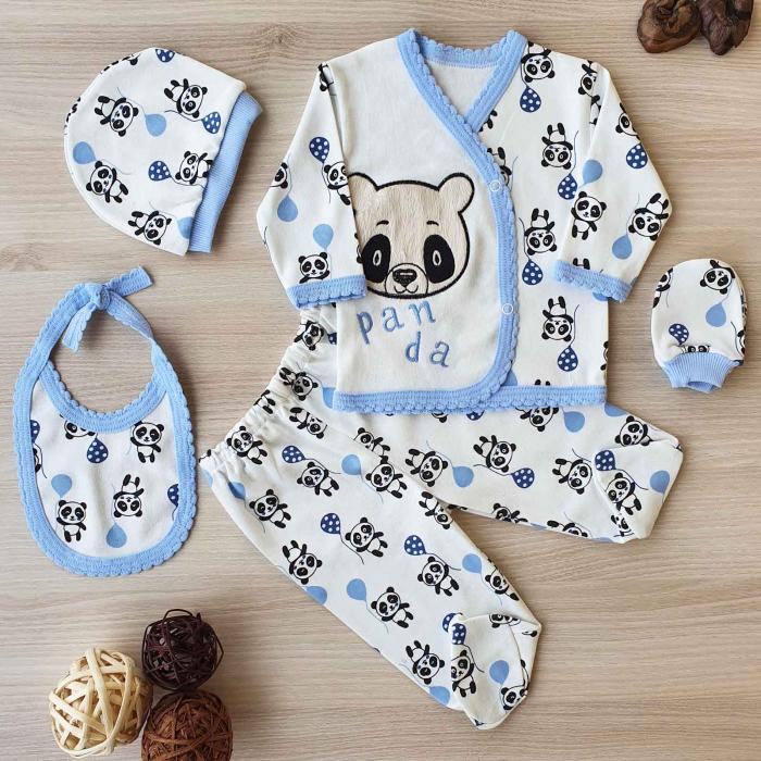 Set nou nascut 5 piese bluzita, caciulita, manusi si bavetica panda alb cu bleu 0
