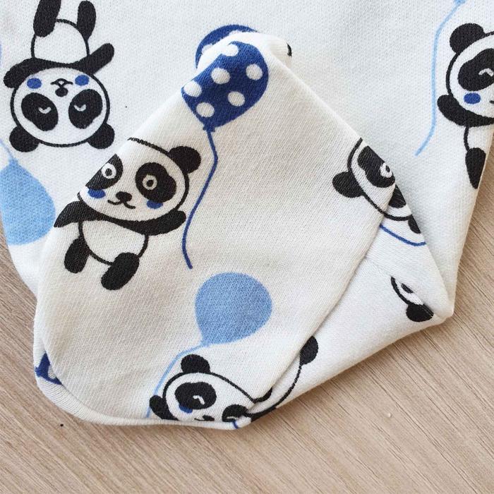 Set nou nascut 5 piese bluzita, caciulita, manusi si bavetica panda alb cu bleu 2