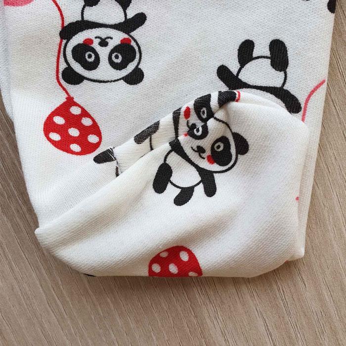 Set nou nascut 5 piese bluzita, caciulita, manusi si bavetica panda alb cu rosu 2