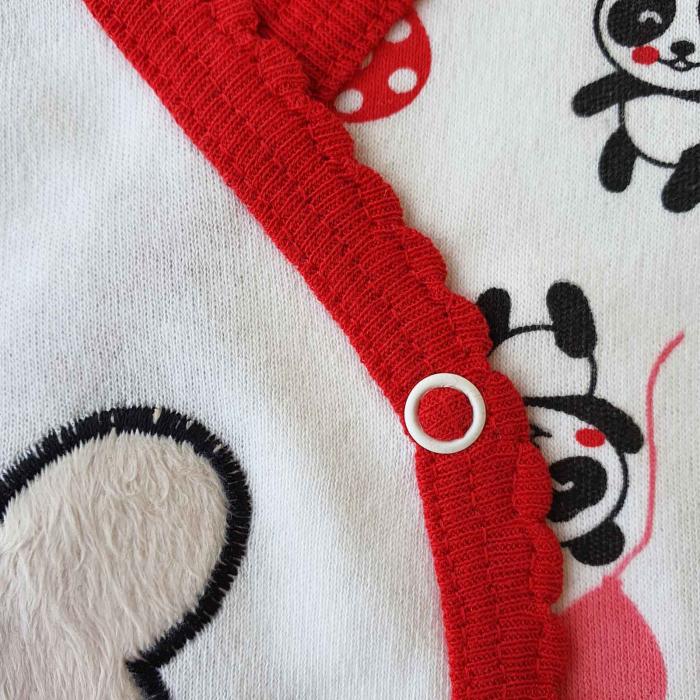 Set nou nascut 5 piese bluzita, caciulita, manusi si bavetica panda alb cu rosu 1