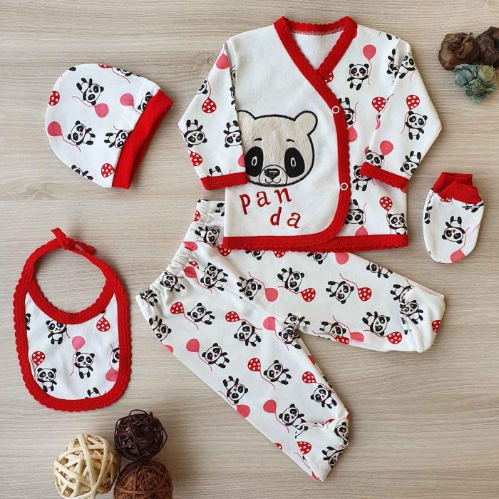 Set nou nascut 5 piese bluzita, caciulita, manusi si bavetica panda alb cu rosu 0