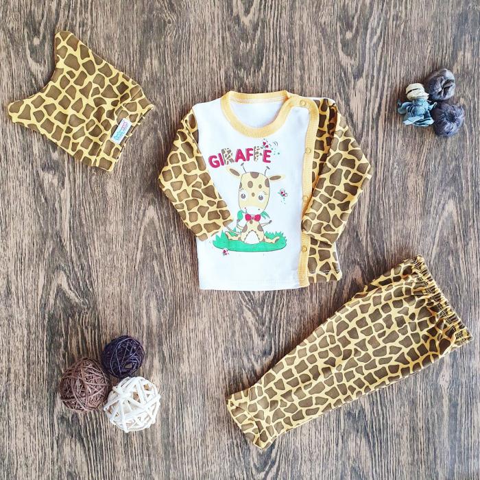 Set nou nascut bluzita, pantaloni si caciulita girafa bumbac 0